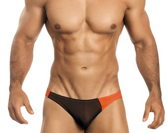 Chocolate & Orange Asymetrical Swim Bikini for Men by Vuthy Sim   2-13