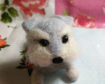 Little Schnauzer wool needle felting