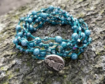 Macrame Multi-Wrap Bracelet / Necklace in Teal