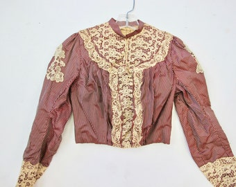 1880s Burgundy Silk Stripe Top with Lace