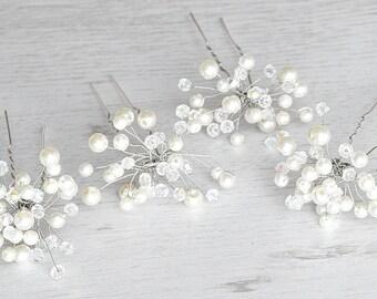 Handcrafted wedding pearls hairpins. Bridal crystals hairpins. Handmade bridal pearls hairpiece. Pearls Flower hairpins. Vintage hair pin