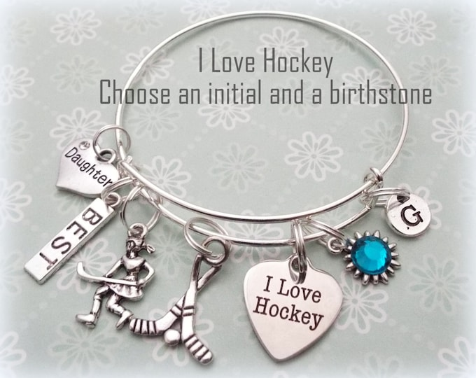 Hockey Player Gift, I Love Hockey Charm Bracelet, Personalized Jewelry Gift For Her, Sports Jewelry, Initial Sports Gift, Birthstone Gift