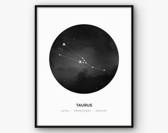 Taurus Print, Taurus Constellation, Taurus Zodiac Sign Poster, Taurus Wall Art, Taurus Gift, Zodiac Constellation, Astrology Black and White
