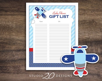 Instant Download Airplane Baby Shower Gift List, Printable Gift Tracking Sheet for Boy, Blue Red Aviation Baby Shower Bomber Gift Sheet 37A