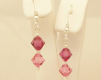 Fuchsia (Pink) and Rose Swarovski Crystal & Sterling Silver Earrings