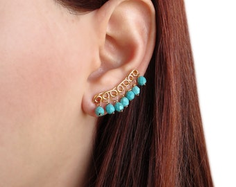 Turquoise ear cuff earrings, boho earrings, mother gift, gypsy earrings, tropical turquoise earings, ear climbers, ear sweeps, ear crawlers