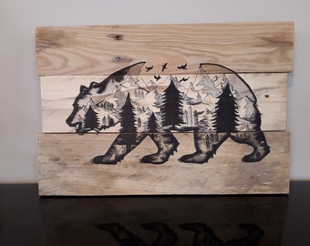 Bear painting + mini forest