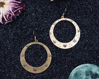 High Femme earrings ~ handstamped raw brass