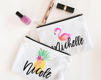 Beach Bridesmaid Gift | Flamingo Bachelorette Party | Personalized Cosmetic Bag | Bridesmaid Makeup Bag | Pineapple Bachelorette (EB3222TPB)