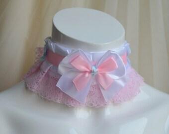 Premade Kitten play collar - Sweetie Arianne - costume halloween harajuku - ddlg princess bow choker - kawaii cute fairy kei pink petplay