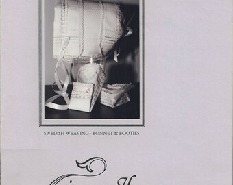 "Clearance - ""Swedish Weaving Bonnet and Booties"" by In a  Gentle Fashion"