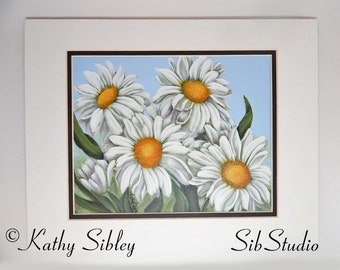 Whimsical Daisies Painting, Original Acrylic Painting, Double Matted 11 X  14, Daisy Home
