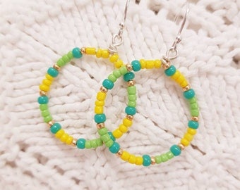 Green and yellow Hoopla dangles sterling silver earrings