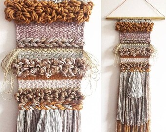 """Handwoven Wall Hanging / Tapestry Weaving 7"""" x 30"""" (""""Five String Serenade"""")"""