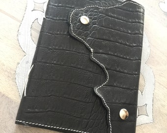 Pratesi Florence Croc Embossed Black Leather Journal Notebook Travel Live Love