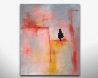 Abstract Art Paintings Pink Blue and Grey Abstract with silhouette. Print on Canvas