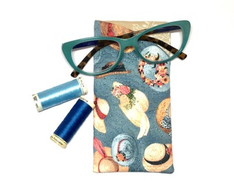 Glasses/Sunglasses Fabric Case - Quilted Hat theme Fabric Soft Case/Pouch, Gifts under 20, Gifts for Her