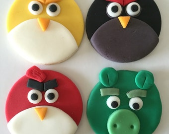 ANGRY BIRD Fondant Cupcake Toppers 12 pcs ~Birthday party~