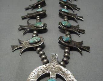 Opulent Hand Haammered Sterling Silver Turquoise Vintage Squash Blossom Necklace