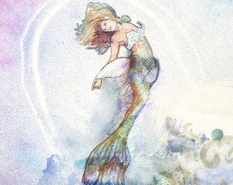 BLISSFUL MERMAID Print, Mermaid Wall Art, Mermaid Decor,  Fine Art Print, Ocean Art, Sea Nymph, Ocean, Sea