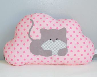 Mini pillow, cloud, cat, dots, roses, decor, kids accessories