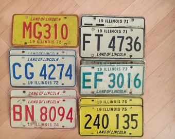 Amazing decade set of 1970s Illinois plate license Plate with pairs