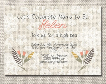 Floral neutral 'Mama to Be' Baby Shower Printable Invite