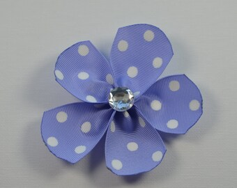 Purple with white polka dot large flower hair alligator clip with clear bling faceted rhinestone