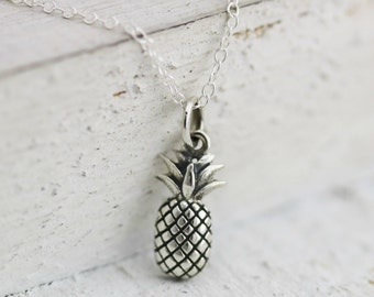 Pineapple Necklace - Sterling Silver Pineapple Necklace - Pineapple Pendant - Tropical Fruit - Friendship Necklace - Hospitality Gift
