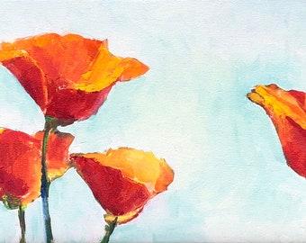 California Poppies   12 x 24 original oil painting