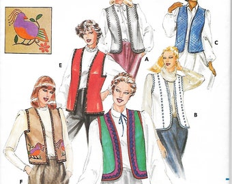 Butterick 3971 Misses Vest And Transfer Sewing Pattern, Medium, UNCUT