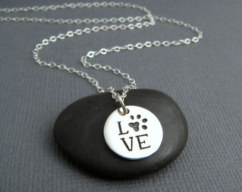 silver love paw print necklace. small sterling silver pet pride pendant. pet charm. gift animal lover simple pawprint dog cat. word jewelry