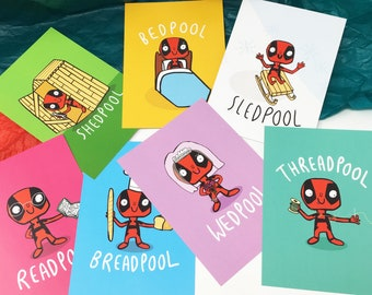 Deadpool Illustrated Postcard Pack - 7 Pack - Pun Postcards - Marvel