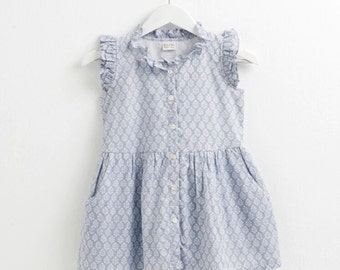 Girl dress, Toddler girl dress, Summer dress, Girl outfits,Blue print dress