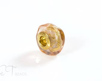 European bracelet bead - Peach and Gold Murano glass charm bead - sterling silver large hole charm - unique gift for women