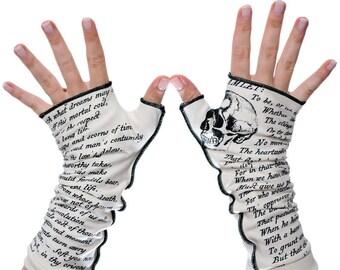 Hamlet Writing Gloves - Fingerless Gloves, Arm Warmers, Shakespeare, Literary, Book Lover, Books, Reading