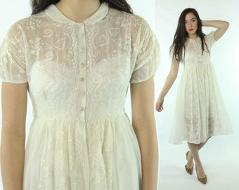 1940s Embroidered White Dress Full Skirt Short Sleeves Sheer Button Up Vintage 40s Small S Pinup Rockabilly