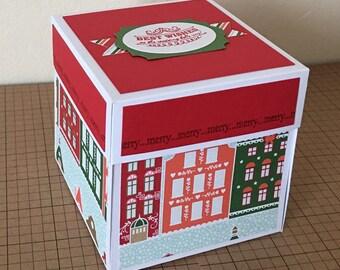 Handmade box card, Christmas/ Noel themed exploding box card/ pop up card/ explosion Keepsake Box.
