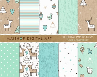 Digital Paper Pack 'Cute Christmas II' Printable Background Patterns for Cards, Invitations, Scrapbooking, Craft Projects...