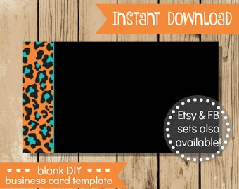 Blank DIY Business Card - Orange Teal Leopard - Do It Yourself Blank Business Card Template - Blank Business Card - INSTANT DOWNLOAD