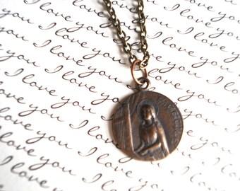 St cecilia necklace etsy saint cecilia necklace patron of music patron saint necklace catholic necklace bronze aloadofball Image collections