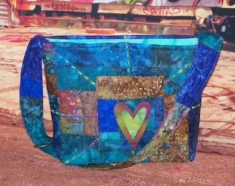 Earthtones  Ocean Watercolor Fabric Boho EARTH WaterColors Indy India Gypsy patchwork tribal bohemian ethnic Shoulder hand bag Watercolors