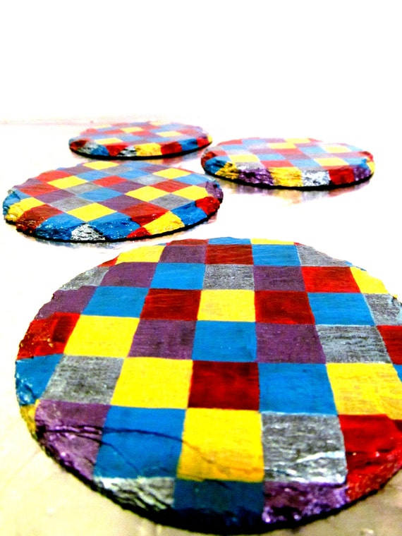 Colorful Hand painted slate Coasters set of four