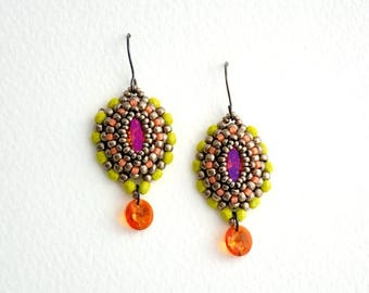 Earrings with Crystal Navette Astral Pink/Lime