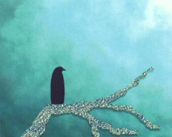 ACEO Day Watcher digital art print crow raven tree branch nitelvr