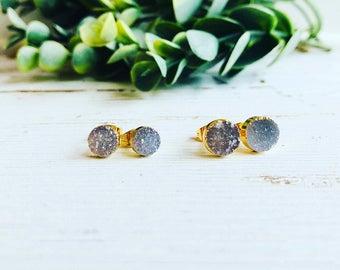 Natural Druzy Earrings