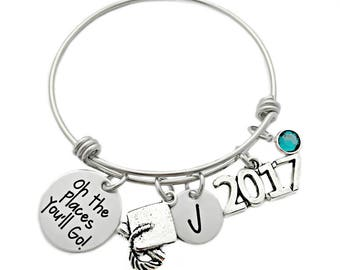 Personalized Oh the Places You'll Go Graduation Bracelet - Engraved Jewelry - Graduation Quote- Senior Graduation Gift 2017 - Bangle - 1059