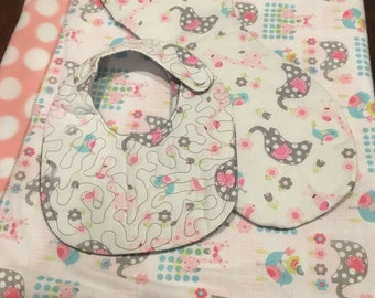 Baby blanket, bib and burp cloth