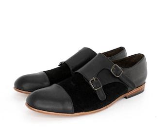 Monk Vagabundo Shoes in Black and Black Suede