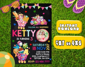 Shopkins Invitation Birthday,Shopkins Birthday Party,Shopkins Invitation Party,Shopkins Birthday,Shopkins Party,Shopkins Invitation-F1045